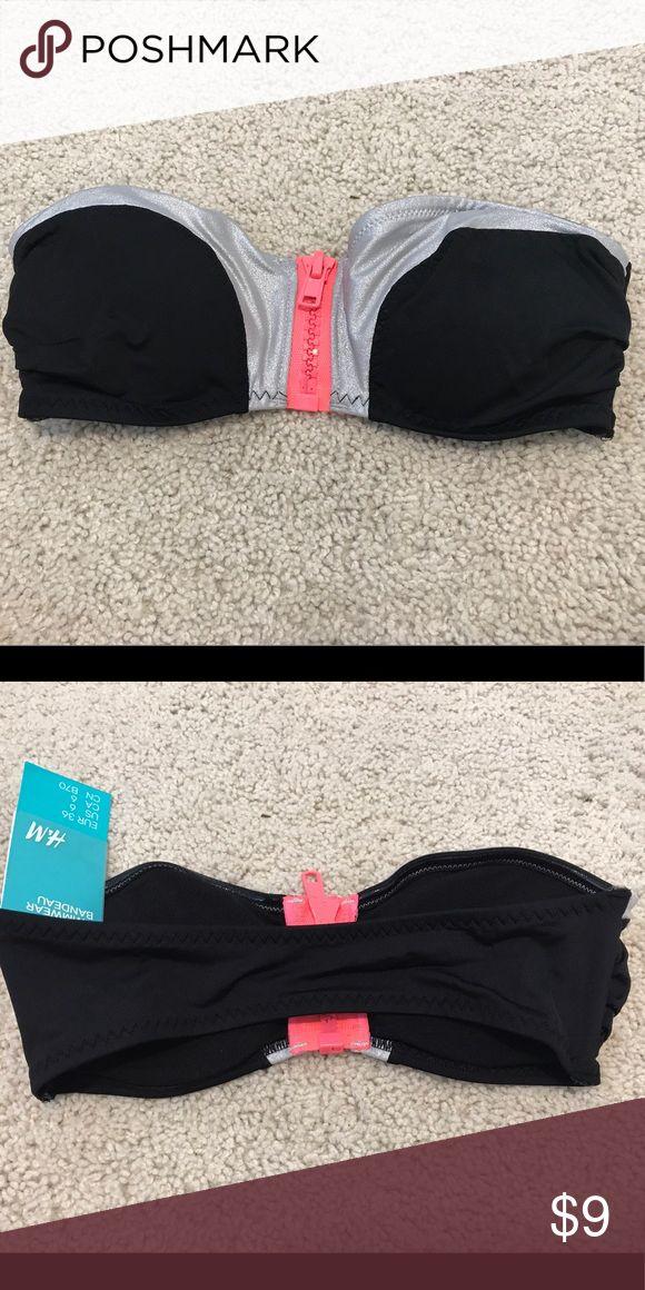 H&M bandeau bikini top Brand new black, bandeau bikini top with silver metallic and hot pink trim H&M Swim Bikinis