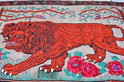 "Antique Turkish Kilim 78"" x 121"" Primitive Lion Pattern Hand Woven Wool Wall Rug | eBay"