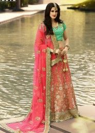 Wedding Wear Pink Art Silk Zarkan Work Lehenga Choli