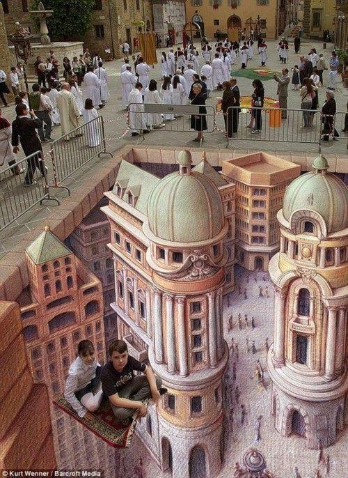 """Amazing! Sidewalk Chalk Art - """"Flying Carpet"""" - Germany"""