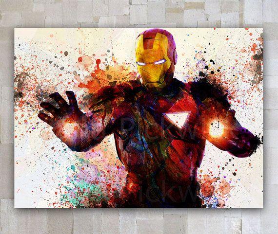 Fer téléchargement numérique affiche Man, The Avengers aquarelle A3 numérique affiche, sticker Marvel Comics aquarelle Tony Stark impression GD-30