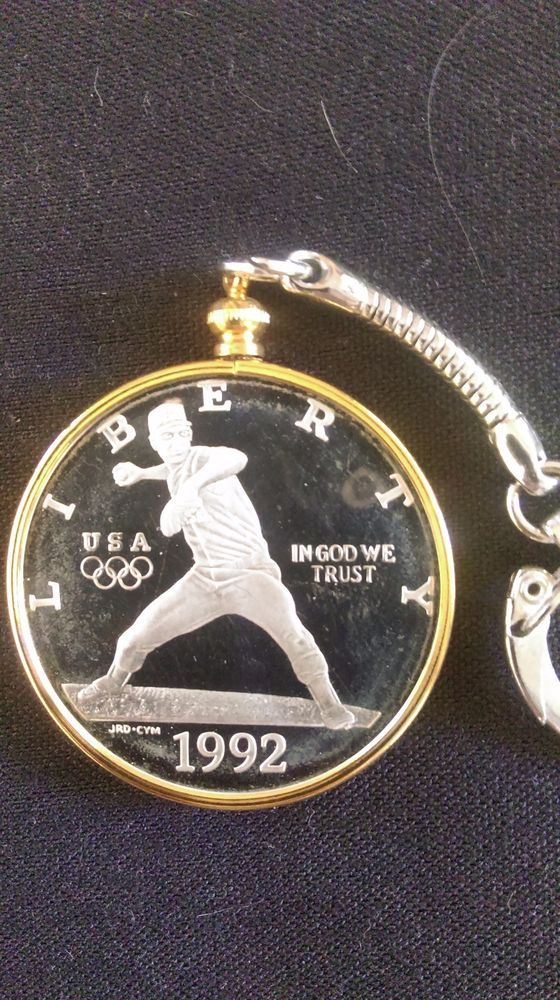 1992 U.S. Olympic Silver Proof Coin Key-chain 24k Gold Plated Bezel BEAUTIFUL #USMint