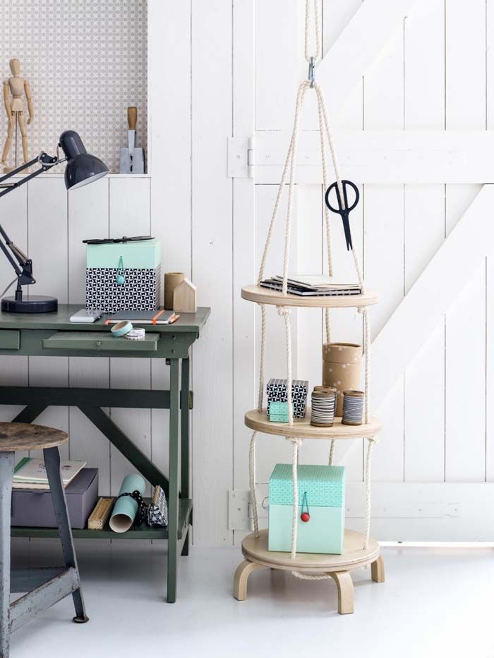 This is a real creative hack on the FROSTA stool.  A hanging shelf for extra office storage. Click here to see how.