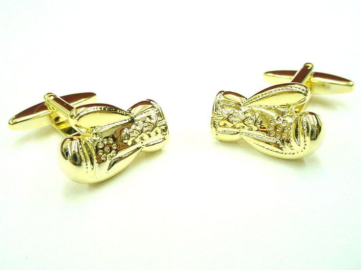 Gold Prize Fighter Three Dimensional Boxing Gloves Cufflinks Cuff Links NIB #SilverSmithCufflinks