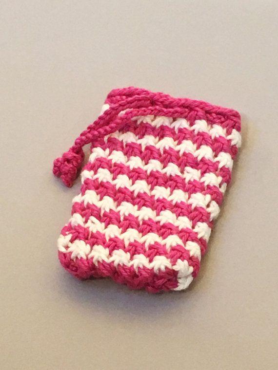 Pink Knit Soap Saver Bag, Soap Sachet, Cotton Soap Sack, Soap on a Rope, Knit Soap Holder, Body Scrubber, Wash Cloth,