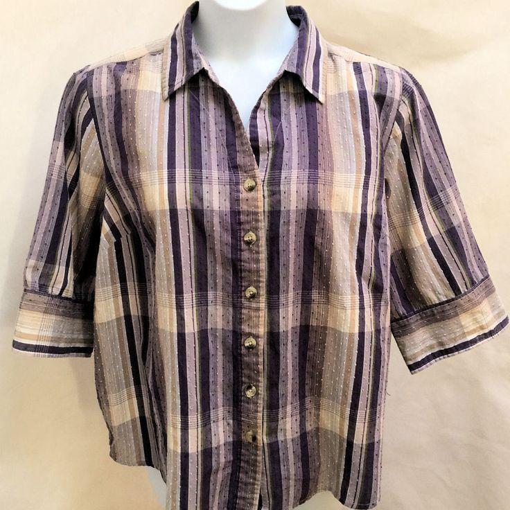 Liz Me 2X 22W 24W Top Purple Striped Textured 3/4 Sleeve Shirt Plus Size #LizMe #ButtonDownShirt #Casual