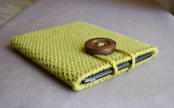 Crochet iPad Case in Chartreuse Green - iPad Sleeve  - Tablet Case, $39.00