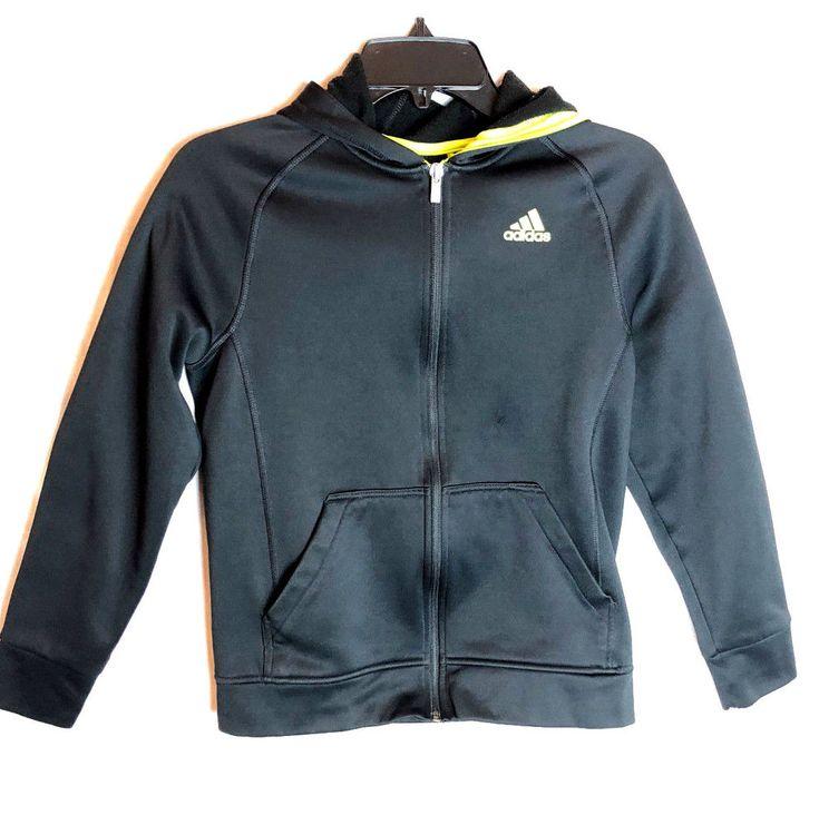 Adidas Full Zip Hoodie Track Jacket Boys Size Large 14 16 Black Neon #adidas #Hoodie