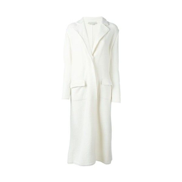 STELLA MC CARTNEY Cut Out Detail Coat (945 CAD) ❤ liked on Polyvore featuring outerwear, coats, white, stella mccartney, long white coat, long coat, long sleeve coat and white coat