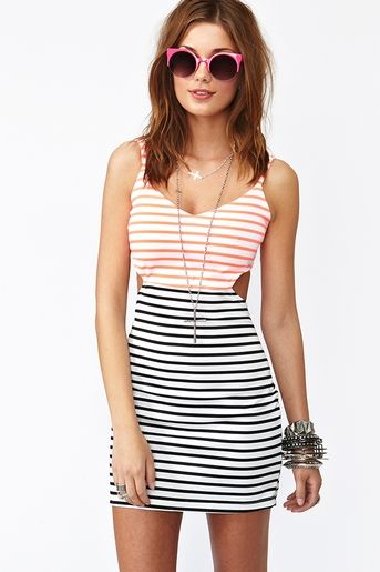 Seeing Stripes Cutout Dress