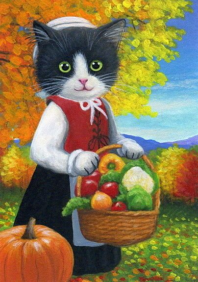 Tuxedo kitten cat pilgrim Thanksgiving garden autumn original aceo painting art #Realism