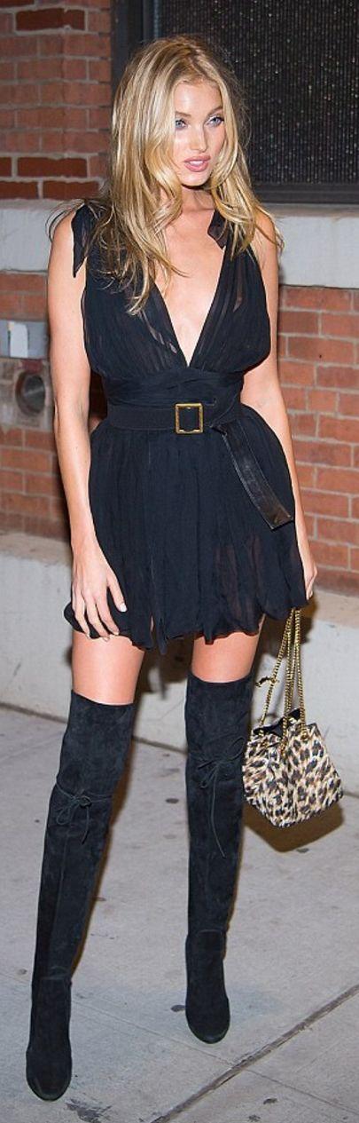 Who made  Elsa Hosk's black chiffon dress, leopard handbag, thigh high suede boots?