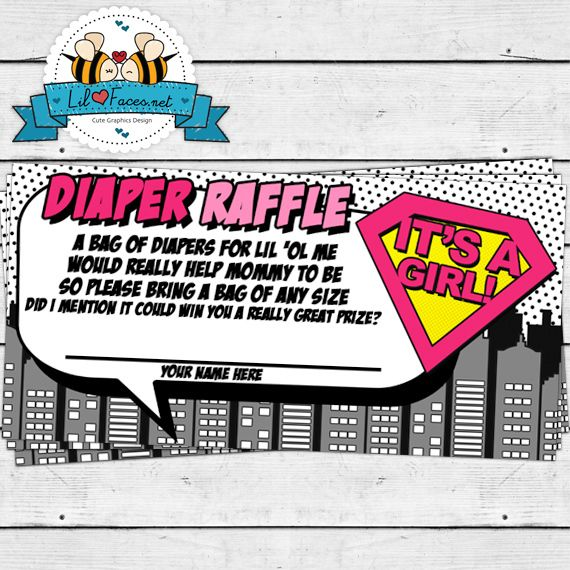 Girl Superhero Baby Shower Diaper Raffle with a Poem
