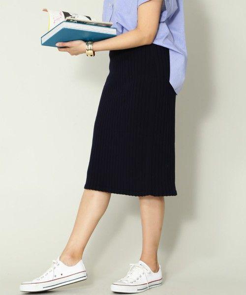 NATURAL BEAUTY BASIC(ナチュラルビューティベーシック)の「サマーリブニットセットアップスカート【セットアップ対応商品】(スカート)」 詳細画像