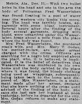 WASSERLABEN Brutally Murdered  Wife & Mother-in-Law Arrested  News from Mobile, Alabama  The Dallas Morning News  Dallas, Texas  January 1, 1912  Part 1 of 2