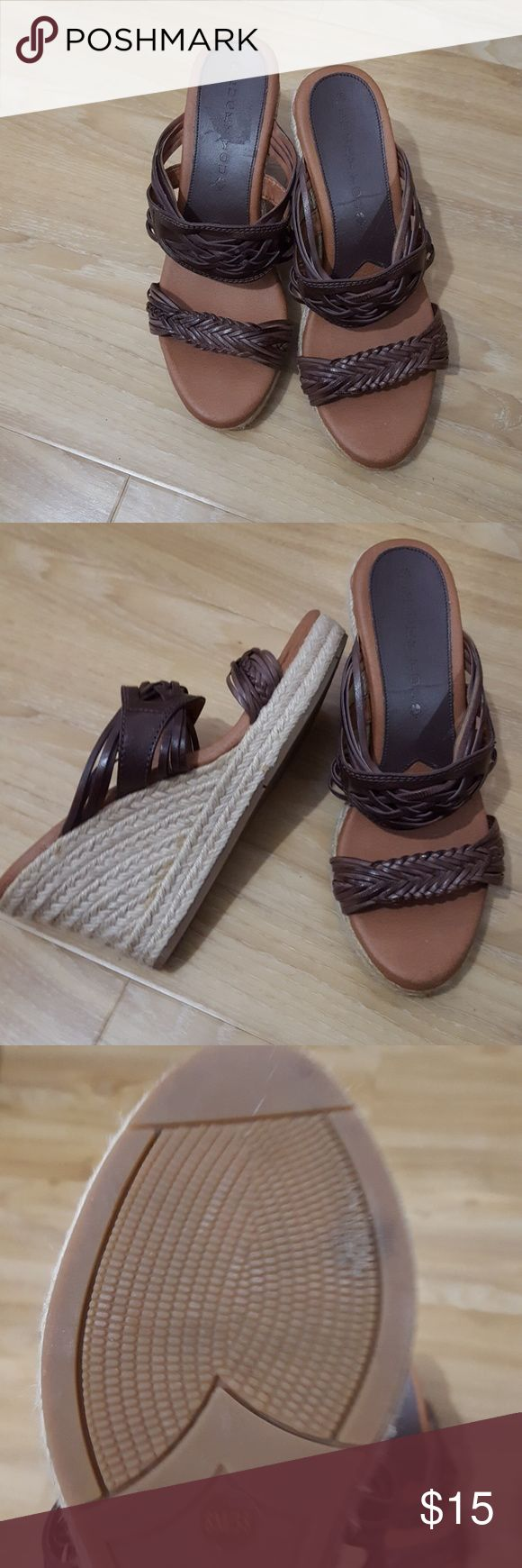 Lucky Brand Leather Espadrille Wedge Sandals 8 Only worn once. One of the braided leather strips has become detatched from its backing, but not noticeable when worn. See picture #4. Also some glue is visible on espadrille, but this happens to all espadrille type shoes. Lucky Brand Shoes Espadrilles