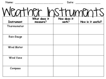 weather instruments graphic organizer classroom science weather instruments graphic. Black Bedroom Furniture Sets. Home Design Ideas