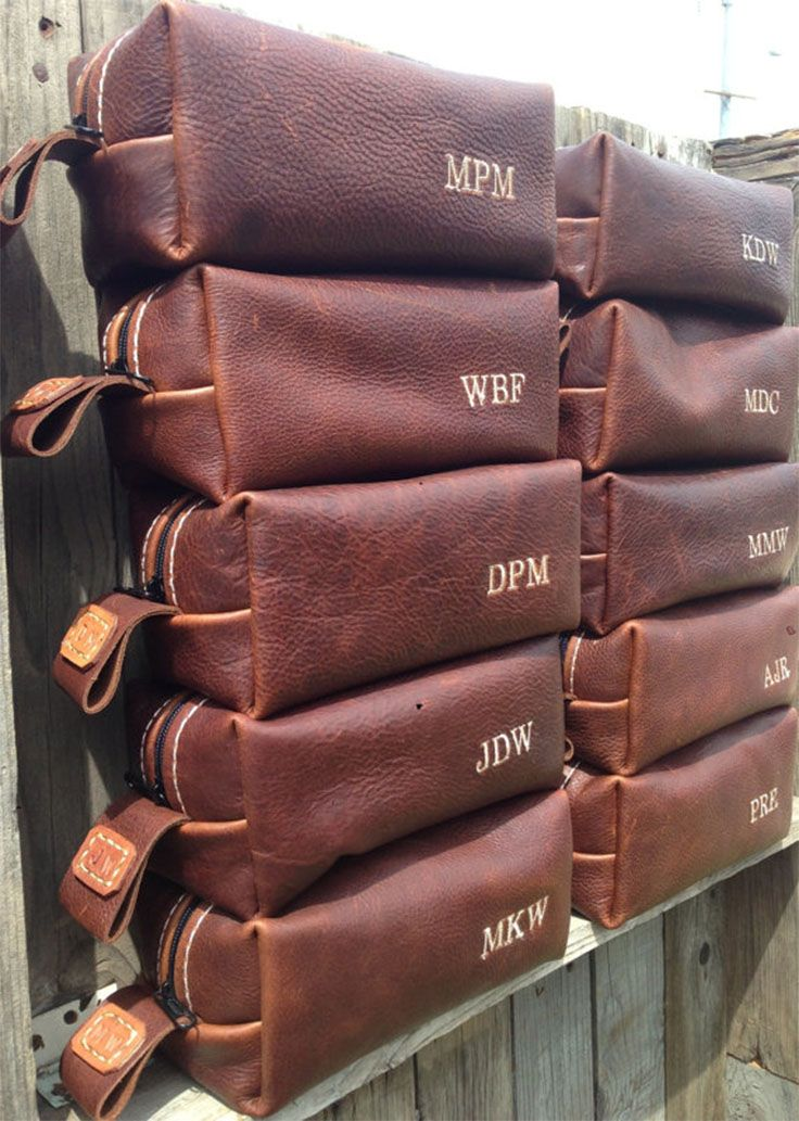 13 Ways to Spoil your groomsmen: with personalized leather dopp kits - every man needs one and these are rugged and elegant at once