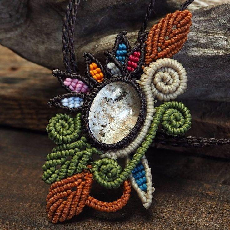 Macrame Necklace Pendant Cabochon Lodolite Quartz Cotton Waxed Cord Handmade #Handmade #Pendant