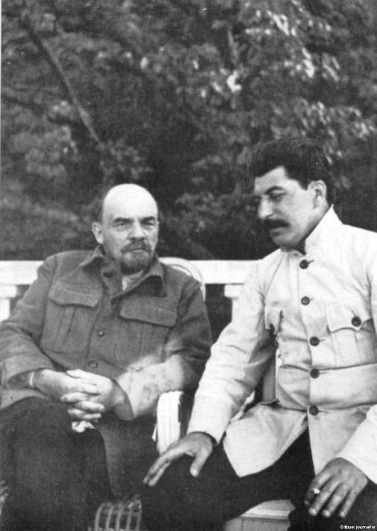 Vladimir Lenin and Joseph Stalin at Lenin's estate at Gorki, near Moscow, Russia, 1922