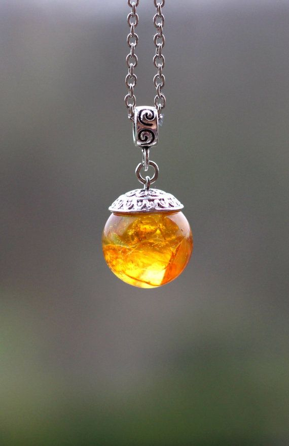 Amber Pendant Amber Necklace Orb Resin Pendant Amber by NaTavelli