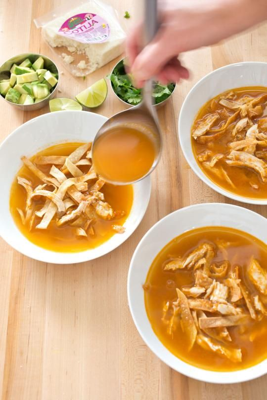 Chicken Tortilla Soup Recipe from 'The Best Mexican Recipes' -  We wanted a recipe for this popular soup (known in Mexico as sopa Azteca) with authentic flavor and a streamlined method.