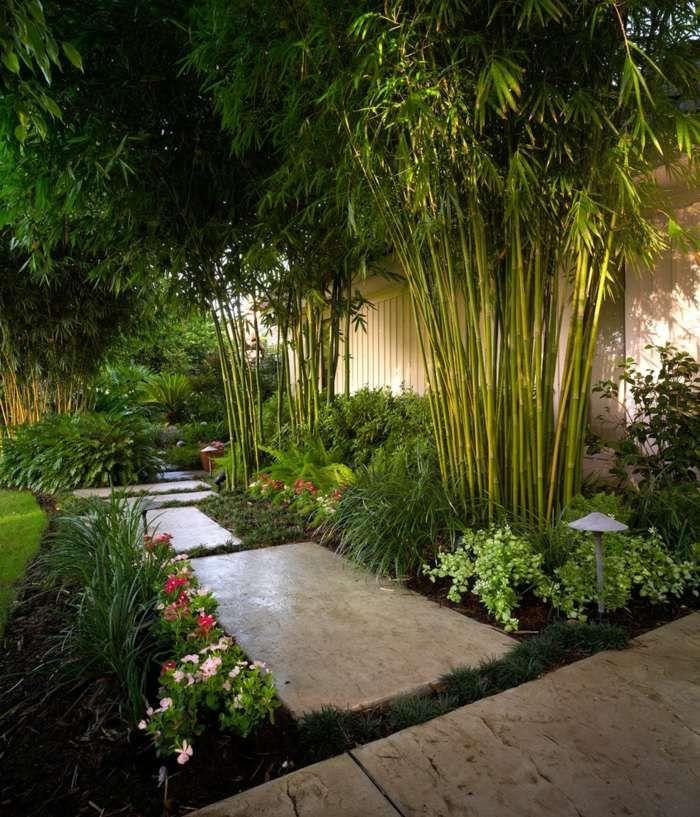 aménagement jardin avec dalles en béton et bambou