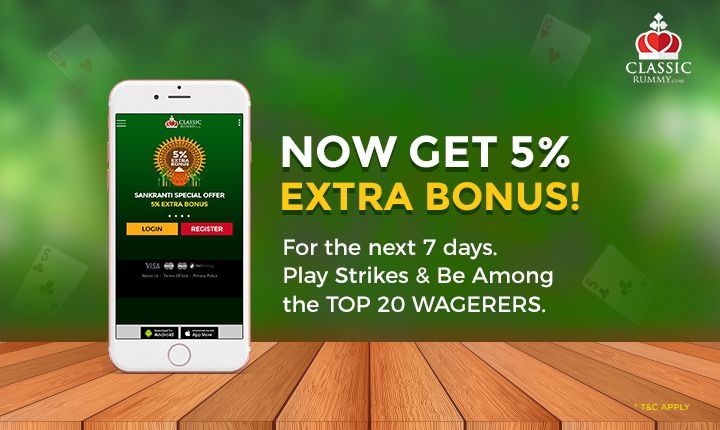 Now get 5% extra bonus for the next 7 days. Just play strikes rummy & be among the top 20 wagerer. Hurry Up Now.  #rummy #online #mobile #free #games #card