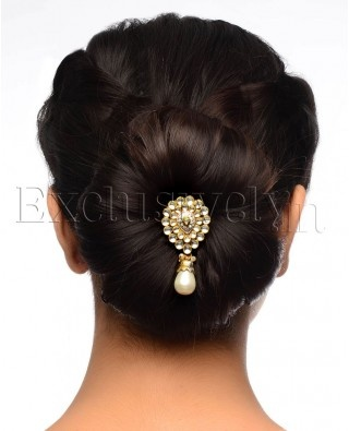 Hair Style Jooda : Crystal Stone Encrusted Pear Drop Hair Pin - Exclusively In