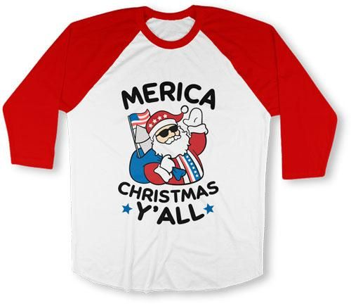 UNISEX BASEBALL TEE - Merica Christmas Y'All - TEP-526