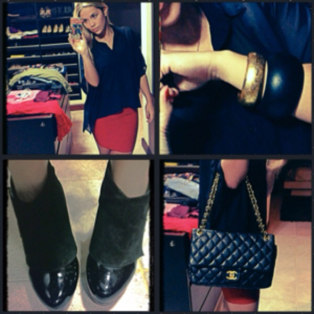 Outfit of the Day: Buttoned Black Sheer Shirt #urbanoutfitters + Tight Red Skirt #soho + Gold n Black Wooden Bangles #claudiamercado + Black n Gold #chanel Jumbo Flap Bag + Black Suede n Patent Leather Booties #vintage