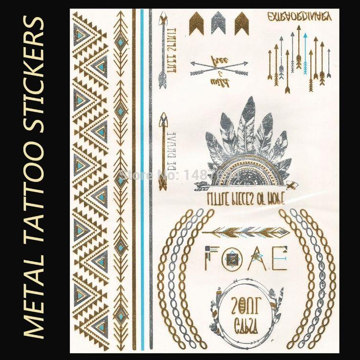 YS77-New Металлик Временные Татуировки Наклейки Сексуальные Татуировки Боди-Арт  Перо Против Племени Против Стрелка  Моды Флэш Поддельные Татуировки