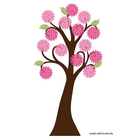 Fioritura gigante albero Stencil ragazze camera di MyWallStencils