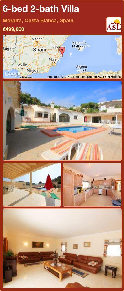 6-bed 2-bath Villa in Moraira, Costa Blanca, Spain ►€499,000 #PropertyForSaleInSpain
