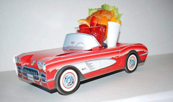 Seriously how cute! Paper food trays shaped like old school cars! Perfect for parties!
