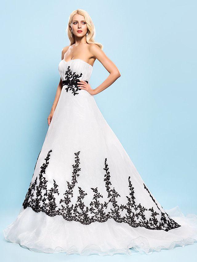 Lanting Bride® Balklänning Petite Plusstorlekar Brudklänning - Chic och modern Elegant och lyxig Brudklänning i färg Hovsläp Älskling - SEK kr1,123