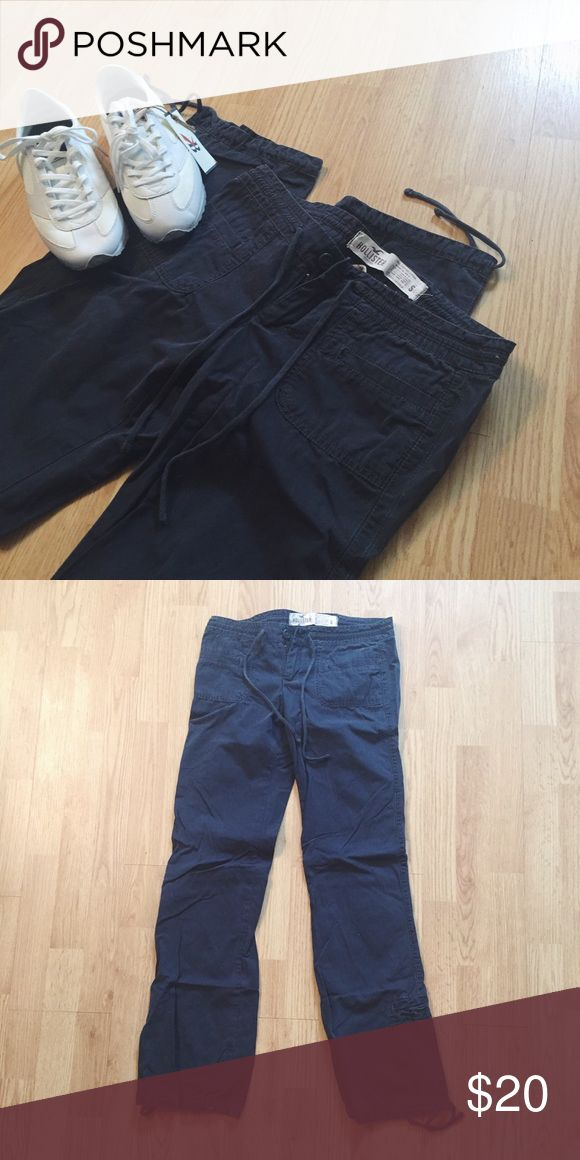 Hollister 100% Cotton Drawstring Pant Hollister 100% Cotton Drawstring Pant. Charcoal gray, drawstrings at waist and ankles. Flat pockets in front & back. Worn gently, only once or twice. Size Small. Hollister Pants Trousers