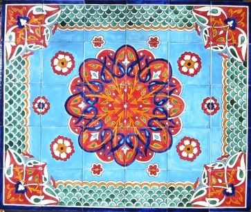 """Beautiful decorative mosaic mural. Total size of mural 36"""" wide x 30"""" height. Hand painted in Tunisia, a southern Mediterranean country. Mosaic panel consist of 30 ceramic tiles, each tile is 6"""" x 6"""" x 0.25 thick. Ceramic tiles are fired twice between 500-600 degrees in a ceramic oven. Murals have a colorful and glossy finish. Ceramic tiles are scratch resistant, water and fade resistant. Great for indoor or outdoor use. Ref; CCT1354 Ceramic Tiles & Mosaic Wall Murals Mediterranean"""