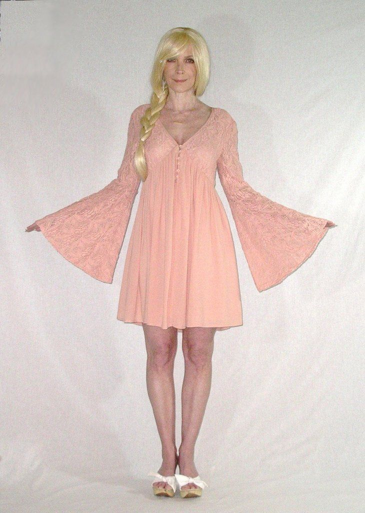"""Blush Bell Sleeve Dress Pink Lace Top """"With Love"""" Boho Mini Button Up Feminine Flare Empire Waist Hippie Dress Sizes Small Medium Or Large Available"""
