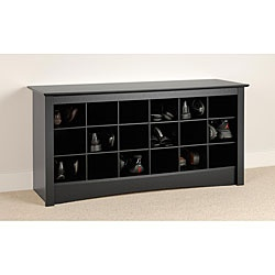 Store your shoes in this attractive Broadway shoe storage bench. This cubbie-type storage bench is a great addition to a front entryway, mudroom, or utility room and features 18 storage compartments for shoes.