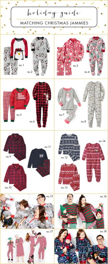 Coordinating Christmas pajamas for your family this holiday season. Adorable ideas for the kids and adults!