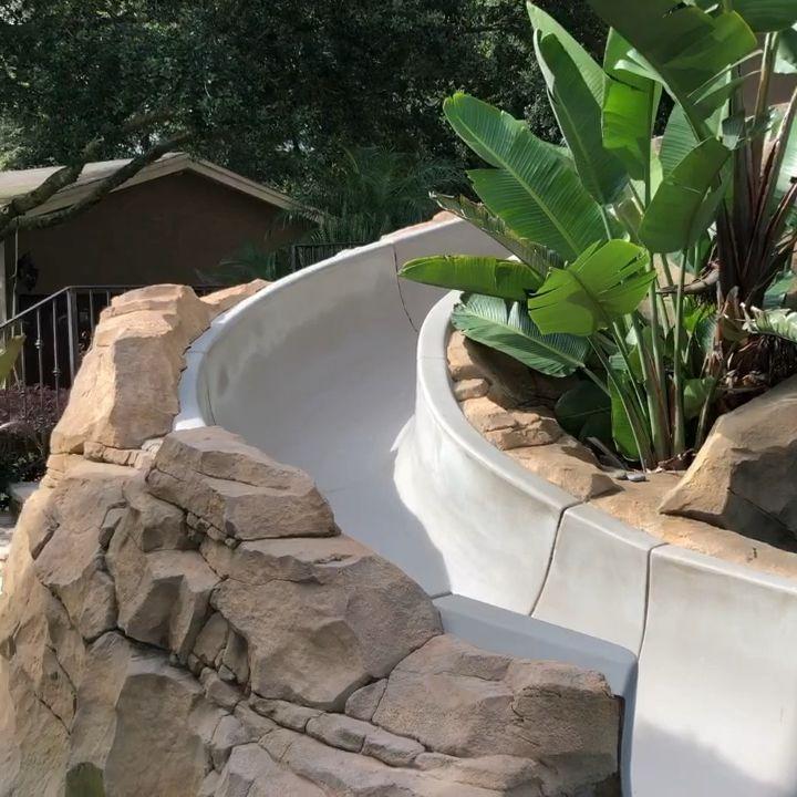 Concrete Waterfalls Concrete Grotto Pool Slide Small Backyard Pools Backyard Pool Waterfalls Backyard