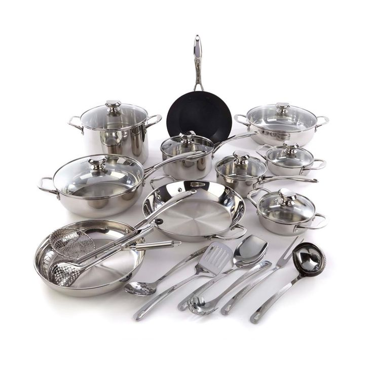 Wolfgang Puck Bistro Elite 25-piece Stainless Steel Cookware Set with Tools - $139.99. https://www.tanga.com/deals/c3323ed99337/wolfgang-puck-bistro-elite-25-piece-stainless-steel-cookware-set-with-tools