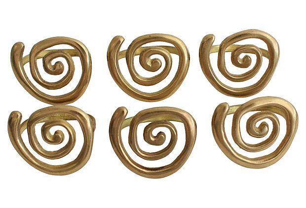 Midcentury Brass Napkin Holders, S/6 on OneKingsLane.com