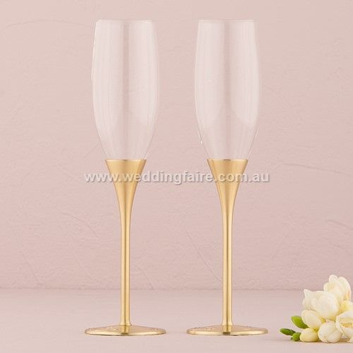 Gold Wedding Champagne Flutes Venice Design - The Wedding Faire