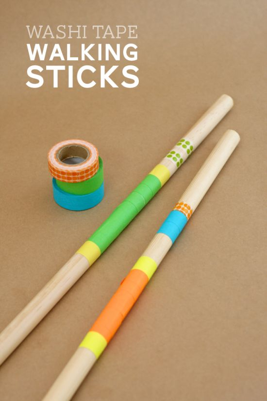 Decorate Walking Sticks as a craft at your Hiking Party with washi tape