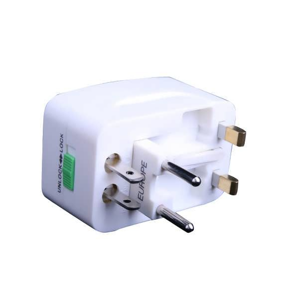 Universal Travel Power Charger Adapter Plug AU UK EU US 	Description: 	100% Brand new all in one universal travel power plug adapter. 	Compact piece unit with 4 international adapters and provide Protection Safety Shutter. 	protects your valuable electronic appliances from spikes in foreign...