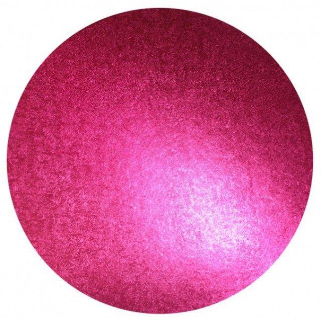 runde TortenplatteFarbe: PinkGröße: 25 cm Durchmesseraus Holzlaminat mit gemusterter glänzender Folie überzogenDicke: 12 mm stark