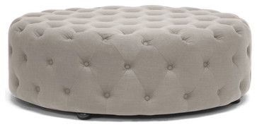 Baxton Studio Cardiff Beige Linen Modern Tufted Ottoman - traditional - Ottomans And Cubes - Baxton Studio
