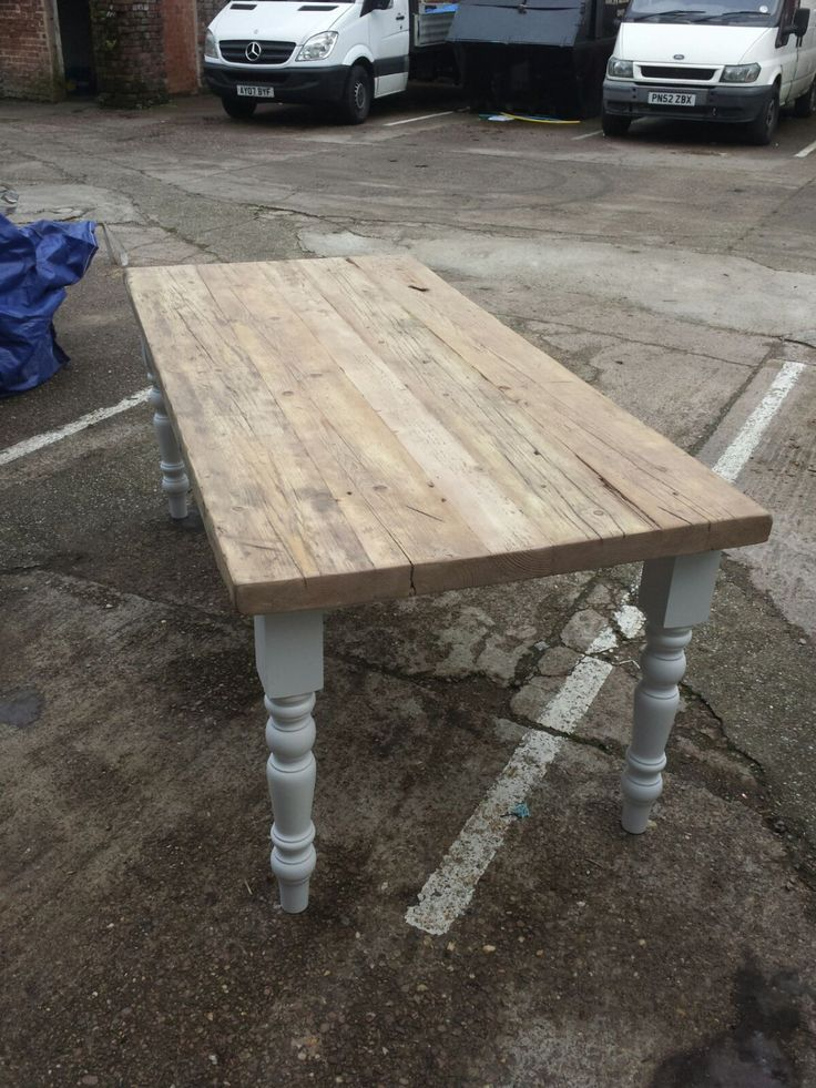 Large 8 foot Country Kitchen chic Dining Table with thick reclaimed wood top, farmhouse legs, Farrow & Ball painted base rustic restaurant by MadeInTheCellar on Etsy https://www.etsy.com/uk/listing/255118638/large-8-foot-country-kitchen-chic-dining